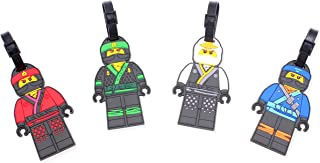 Finex Set of 4 -Lego Ninjago Travel Silicone Luggage Tags Bag Tag Adjustable - Strap Kai Jay Lloyd Zane