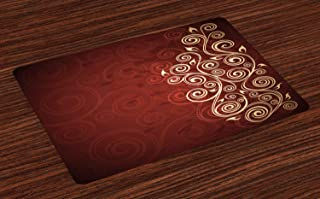 Ambesonne Burgundy Place Mats Set of 4, Floral Swirls Ivy Image with Ombre Details Grunge Backdrop Flower Artwork, Washable Fabric Placemats for Dining Room Kitchen Table Decor, Cream Ruby