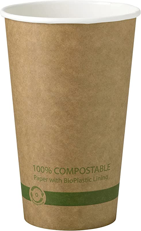World Centric 100 Compostable Paper Cups By World Centric Made From FSC Certfied Paper Plant Based Bio Lining For Hot Drinks 16 Oz Pack Of 1000