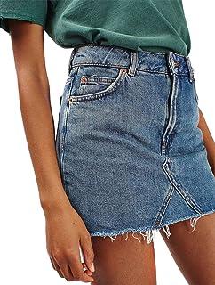 88102fffe0 Joeoy Women's Casual High Waist Ripped A-Line Mini Short Denim Skirt