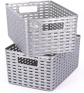 Possidonia Lot de 2 paniers de rangement multi-usage – Boîte de rangement en plastique – Design en rotin – 29 x 19,5 x 13 ...