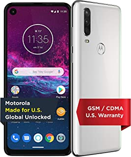 Motorola One Action with Alexa Push-to-Talk - Unlocked Smartphone - Global Version - 128GB - Pearl White (US Warranty) - Verizon, AT&T, T-Mobile, Sprint, Boost, Cricket, & Metro