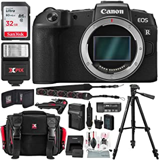 Canon EOS RP Mirrorless Digital Camera (Body Only) with 32GB Card, Battery & Charger Power Kit and Basic Travel Photo Bundle