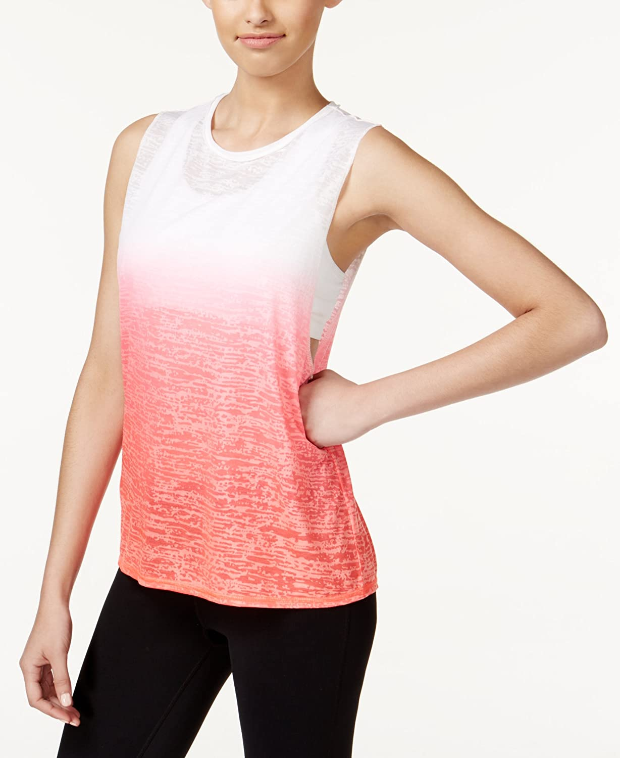 Ideology Womens Plus Burnout Ombre Muscle Tank