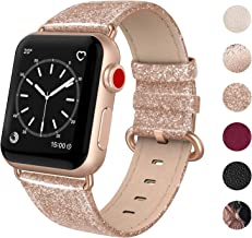 SWEES Leather Band Compatible for Apple Watch 38mm 40mm, Genuine Leather Shiny Bling Strap Compatible iWatch Series 5 Series 4 Series 3 Series 2 Series 1, Sports & Edition Women, Glistening Rose Gold