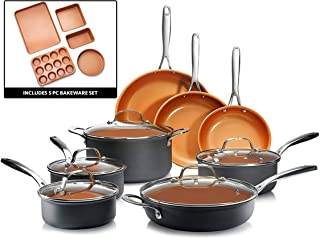 Gotham Steel 2832 Professional – 18 Piece Hard Anodized Cookware + Premium Bakeware Set with Ultimate Nonstick Ceramic & Titanium Coating, Oven and Dishwasher Safe, Brown
