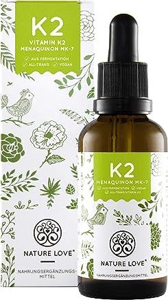 NATURE LOVE® Vitamin K2 MK-7-200µg, 1700 Tropfen, 50ml. Höchster All-Trans Gehalt 99,7% (Hersteller runden auf 100%), natürlich fermentiert. Premium: Gnosis VitaMK7. Flüssig, vegan, made in Germany