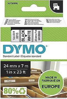 DYMO D1 Label Cassette Tape, 24mm x 7m, Black/White