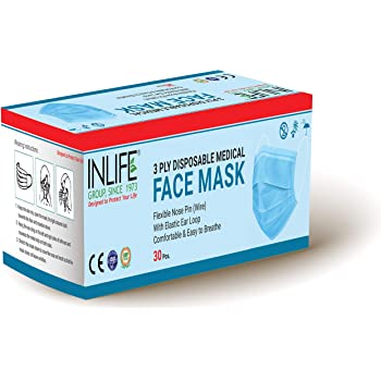 InLife 3ply Non Woven Disposable Face Mask for Pollution with Flexible Ear Loop Dust Mask Nose Mask Mouth Mask Surgical Mask for Men Women - Pack of 30