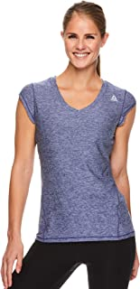 Reebok Women's Cap Sleeve Gym & Workout T-Shirt - Performance V-Neck Athletic Running Top
