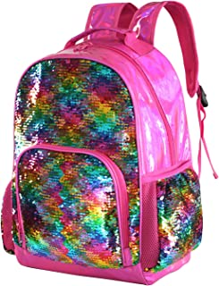 Holographic Sequin School Backpack Bookbag for Girls Kids Casual Bling Magic Mermaid Book Bag Back Pack