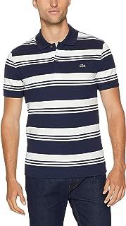 Lacoste Men's Slim Stretch Stripe Polo, Navy Blue/Flour