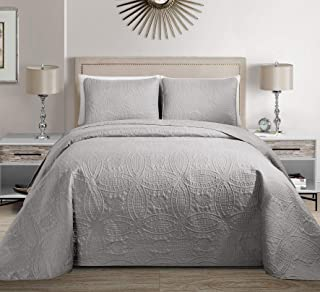 MK Home Mk Collection Solid Embossed Bedspread Bed Cover Over Size (Silver, King/California King)