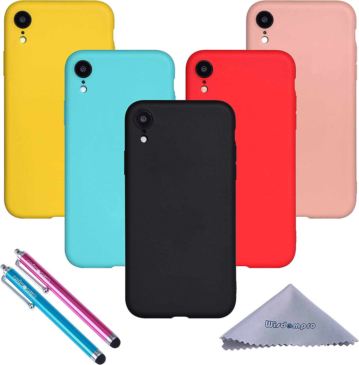 Wisdompro iPhone XR Case, Bundle of 5 Pack Extra Thin Slim Jelly Soft TPU Gel Protective Case Cover for Apple iPhone XR (Black, Aqua Blue, Naked Skin Pink, Yellow, Red)- Candy Color