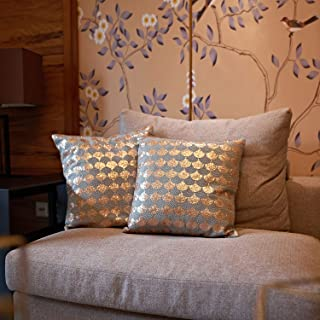 MOTINI Decorative Throw Pillow Covers Set Embroidered Wave Pattern Square Cushion Covers Accent Cozy Cushion Cases Textured Mid-Century Pillowcases (Gold Sequin)