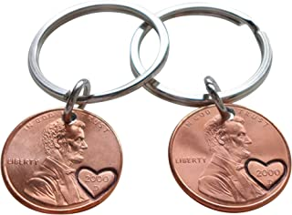 Double Keychain Set 2000 Penny Keychains With Heart Around Year; 19 year Anniversary Gift, Engraved Couples Keychain