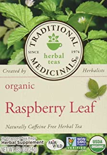 Traditional Medicinals Organic Raspberry Leaf Herbal Tea Caffeine Free 16 Bags Pack of 3