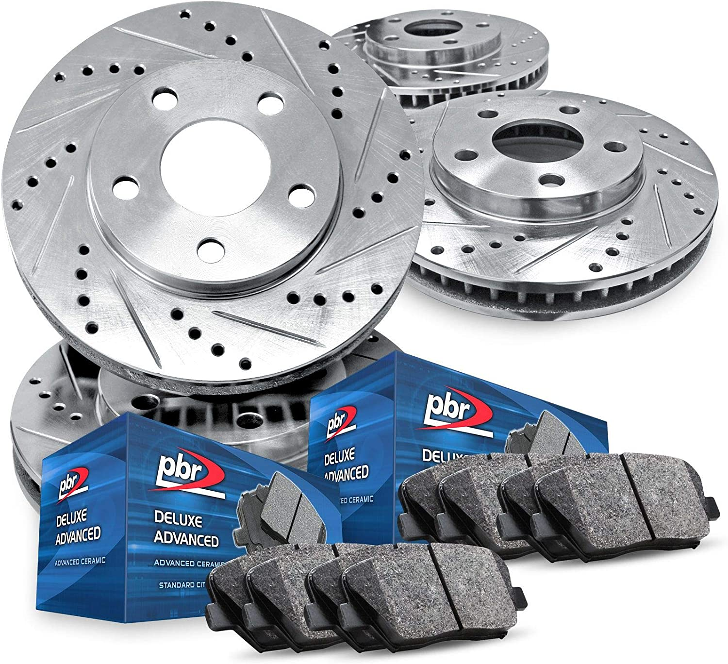 Full Kit PBR AXXIS Silver Drill Rotors + A クリアランスsale 全国どこでも送料無料 期間限定 Slot Deluxe Brake