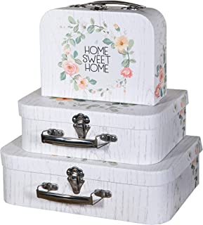 Soul & Lane Decorative Farmhouse Storage Cardboard Suitcase Boxes w/Handles (Set of 3, Home Sweet Home) | Nesting Gift Boxes w/Lid for Keepsake Toys Photos Memories Closet Nursery Office