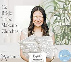 12 Pack Set + 1 Bride Bag | AMERIBA Premium Natural Cotton Canvas Makeup Bag- Bridesmaids Gifts for The Bachelorette Party or Bridal Shower (White & Gray)