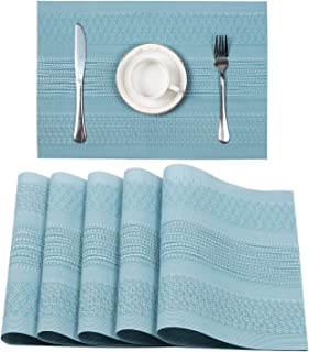 Pauwer Placemats Set of 6 for Dining Table Plastic Woven Vinyl Place Mats Wipe Clean Non Slip Heat Resistant Washable Kitchen Table Mats (6, Y-Blue)