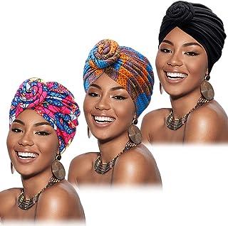 Mudder 3 Pieces Women African Turban Pre-Tied Knot Headwrap Beanie Bonnet Cap Hair Loss Hat
