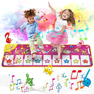"""Music Piano Mat, Piano Keyboard Playmat Dance Mat Electronic Music Mat Touch Play Blanket 39.4""""X14.2"""", 8 Animal Sound Options Built-in Speaker&Demo, Xmas Gifts Toys for Girls Boys Toddlers Kids"""