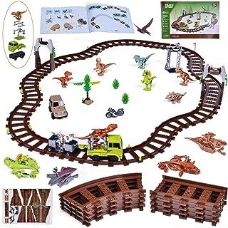Train Building Set with Dinosaur Building Block Toys,...
