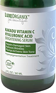 Kakadu Vitamin C Hyaluronic Acid Serum; (2 oz) Brightening Treatment Lightens Dark Spots, Reduces Blemishes & Wrinkles. Hydrates & Absorbs Quickly for Visibly Improved Vibrant Skin. LuxeOrganix.