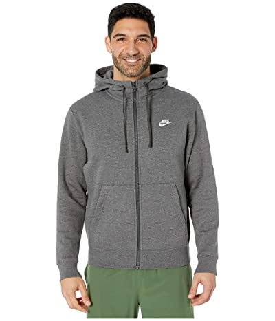 Nike NSW Club Hoodie Full Zip (Charcoal Heather/Anthracite/White) Men