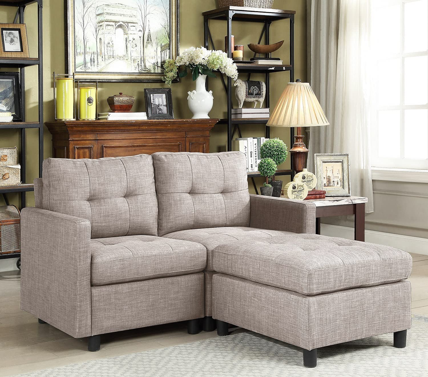 PAYEEL Sectional Sofa Set L-Shaped Couch Reversible Modular 52 inch Love Seats Futon Couch Furniture with Reversible Ottoman for Small Space Living Room (Light Gray).