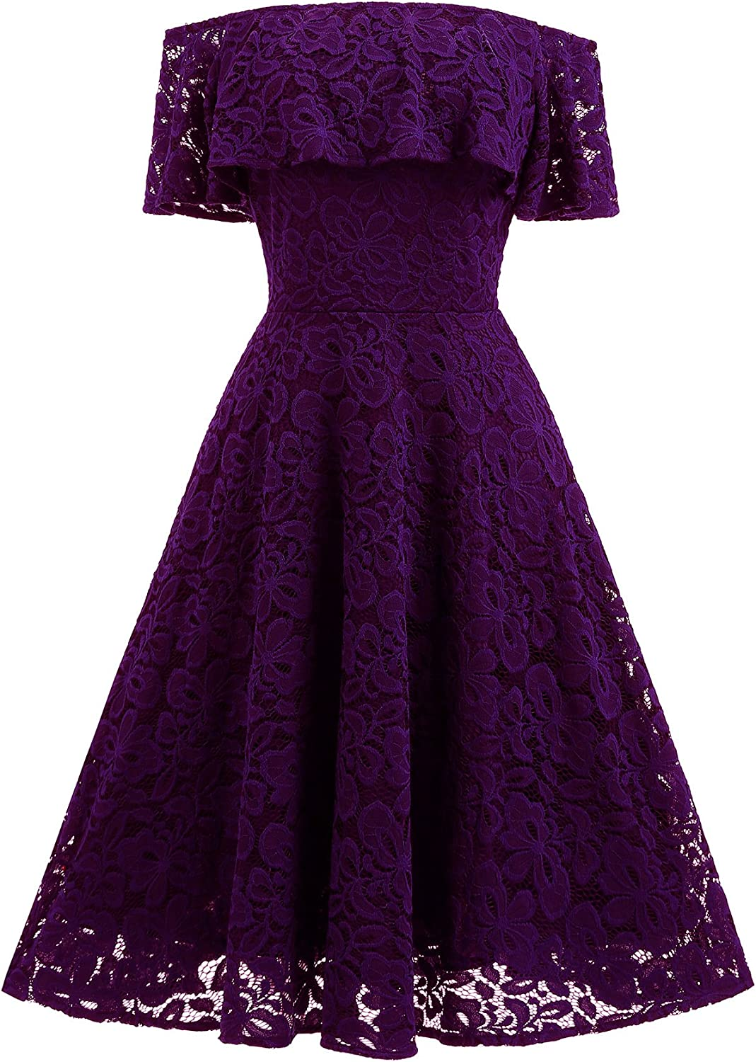 Aibwet Womens Off Shoulder Ruffle Sleeves Cocktail Party Wedding Formal Floral Lace Swing Dress