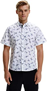 SSLR Men`s Printed Cotton Casual Short Sleeve Button Down Shirts