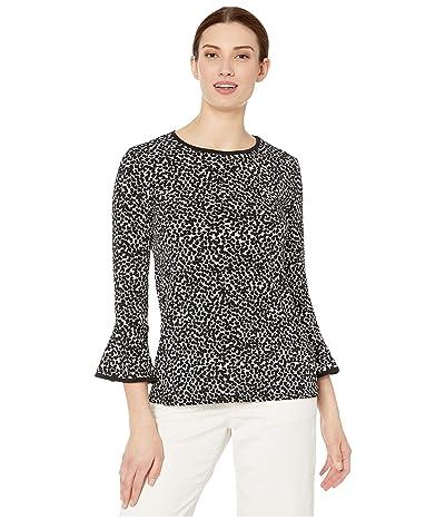 MICHAEL Michael Kors Petal Print Flutter Sleeve Top (White) Women