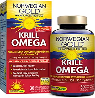 Renew Life Norwegian Gold Adult Fish Oil - Krill Omega, Krill & Fish Oil Supplement