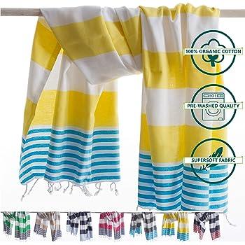ANATURES Toallas De Playa - De Hammam 95x185cm Marina | Prelavado - Oeko-Tex® - Algodón Orgánico Peinado - Toalla De Baño - Fouta para Sauna en Muchos Colores Pareo XXL (Amarillo/Turquesa): Amazon.es: Hogar