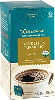 Sponsored Ad - Teeccino Dandelion Tea – Turmeric – Rich & Roasted Super Herb Tea with Dandelion, Turmeric, Licorice & Ging...