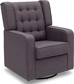 Delta Children Milan Upholstered Glider Swivel Rocker Chair, Sweet Grey