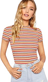 Women's Casual Multi Striped Ribbed Short Sleeve Tee Knit Top