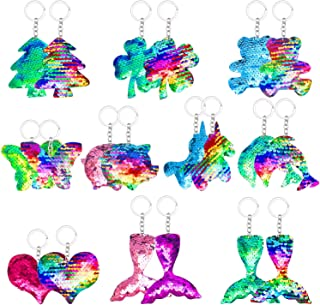 20 Pcs Flip Sequin Keychain, Backpack keychain Animal Shape Party Favors Key Chain for Kids Girls Women Bag Decorations Gi...