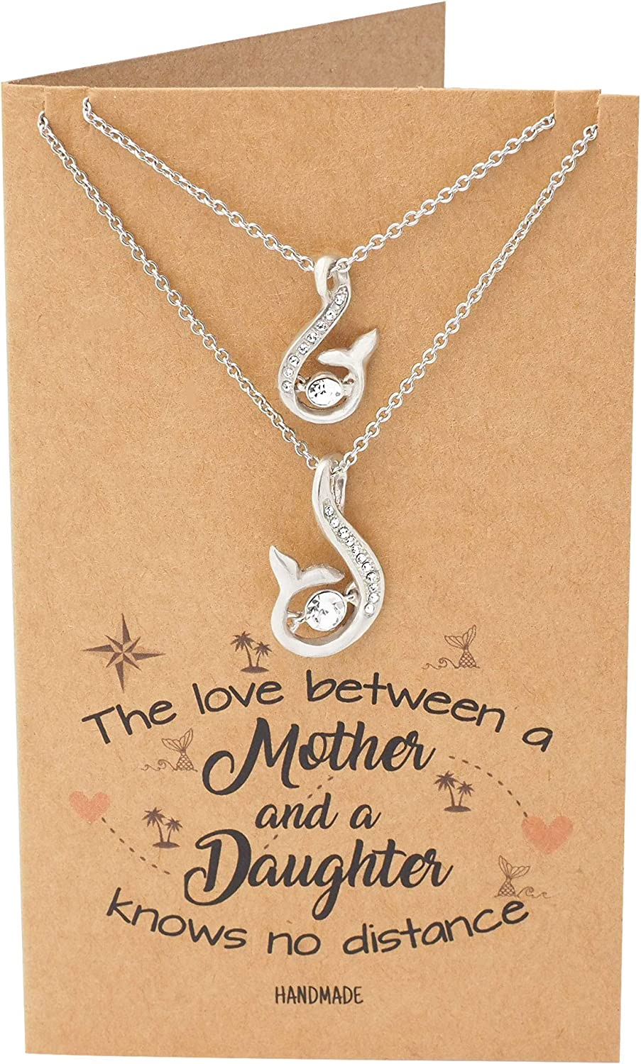 Quan Jewelry Handmade Mother Daughter Necklace, Mermaid Tail Pendant with Swarovski Crystals, Beach Themed Collar Charm, Set of 2 Necklaces, Inspirational Quote with Greeting Card