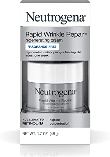Neutrogena Rapid Wrinkle Repair Fragrance Free Moisturizing Anti-Wrinkle Retinol Cream with Hyaluronic Acid for Face & Neck, 1.7 oz