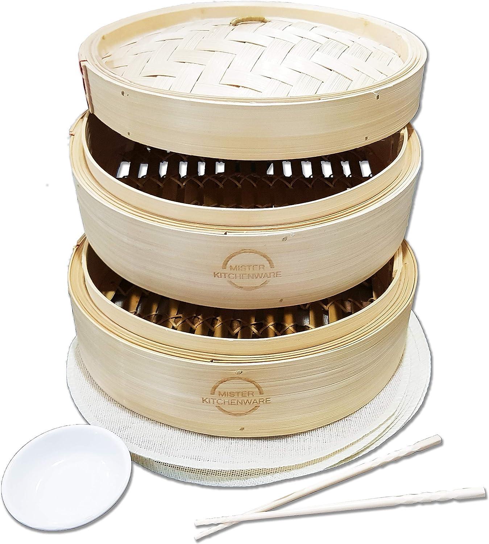 Mister Kitchenware 10 Inch Handmade Bamboo Super intense SALE Steamer store 2 Tier Baske