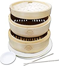 Mister Kitchenware 10 Inch Handmade Bamboo Steamer, 2 Tier Baskets, Healthy Cooking for Vegetables, Dim Sum Dumplings, Buns, Chicken Fish & Meat Included Chopsticks, 10 Liners & Sauce Dish