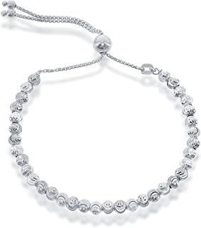 Beaux Bijoux 925 Sterling Silver Diamond-Cut MoonBeads Italian Adjustable Bolo Bracelet