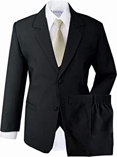 black and champagne suit