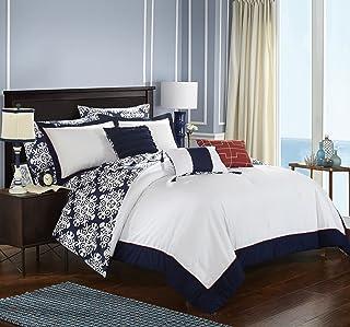 Chic Home Tania 10 Piece Reversible Comforter Bed, Queen, Navy