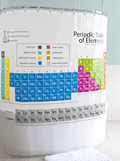 Splash Home EVA 5G Periodic Table Curtain Liner Design for Bathroom Showers and Bathtubs Free of PVC Chlorine and Chemical Smell-Eco-Friendly-100% Waterproof, 70 x 72 Inch, Frosty