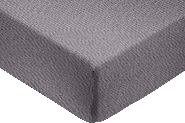 Amazon Basics - Sábana bajera ajustable (algodón satén 400 hilos, antiarrugas) Gris oscuro - 200 x 200 x 30 cm