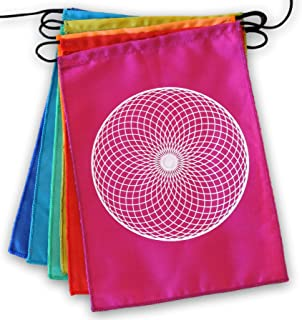Sacred Geometry Rainbow Prayer Flags Positive Energy Shri Yantra, Flower of Life, Seed of Life, (Sacred Geometry 9X12)